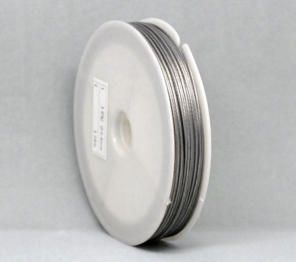 Doreen Box Lovely 1 Roll Silver Tone Steel Beading Wire tiger tail 0.8mm(B09987) ...