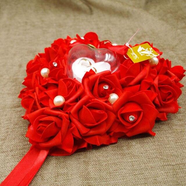 Herzform Rose Blumen Valentinstag Geschenk Ring Box Luxus Ringkissen