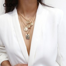 OLOEY Vintage Punk Necklace Women Multilayer Embossed Pendant Necklaces Fashion Female Party Jewelry Sweater Chains Retro Choker
