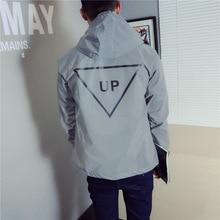 Men jacket casual hiphop windbreaker reflective jacket tide brand men and women lovers coat hooded fluorescent clothing
