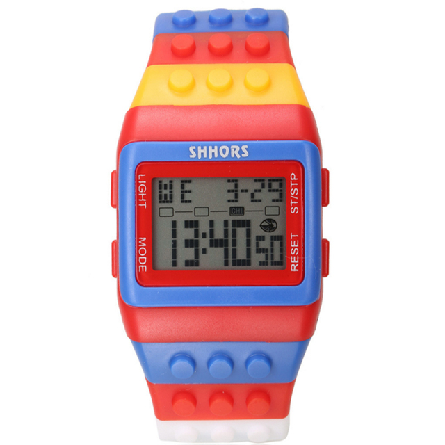 2020 LEGO Party watch Rainbow Classic Unisex fashion watches Coloful stripe Cheap Digital LED Light 3