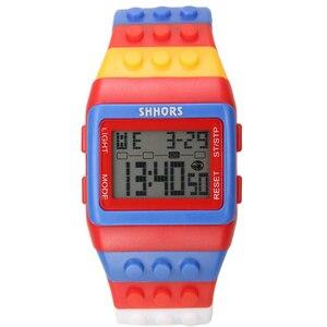 Image 3 - 2018 Shhors zegarek Rainbow klasyczne Unisex modne zegarki kolorowy pasek tanie cyfrowe światło led Drop shipping