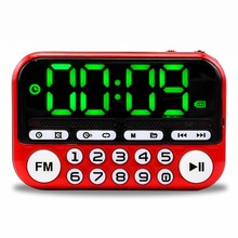 Ausuky Mini altavoz de Radio FM portátil, reproductor de música, tarjeta TF, USB para PC, iPod, teléfono con pantalla LED, alarma HiFi de baile 25