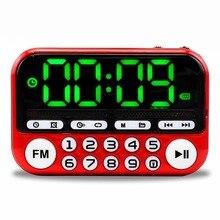 Ausuky Portable Mini FM Radio haut parleur lecteur de musique TF carte USB pour PC iPod téléphone avec LED affichage danse HiFi alarme 25