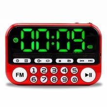 Ausukyポータブルミニfmラジオスピーカー音楽プレーヤーtfカードusb pc ipod電話ledディスプレイダンスハイファイ警報 25