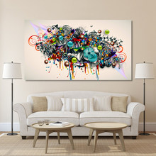 HDARTISAN Graffiti Canvas Art Blossomed Flowers Painting Modern Wall Pictures For Living Room Home Decor Printed No Frame(China)