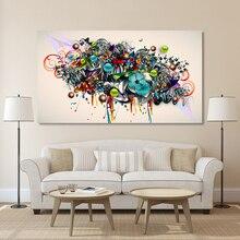 HDARTISAN גרפיטי בד אמנות פרחה פרחי ציור מודרני קיר תמונות לסלון בית תפאורה מודפס ללא מסגרת