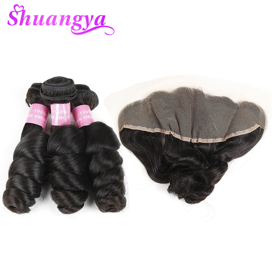 Shuangya Indian Hair Weave Bundles With Closure Loose Wave Bundles With Frontal 100 Remy Human Hair