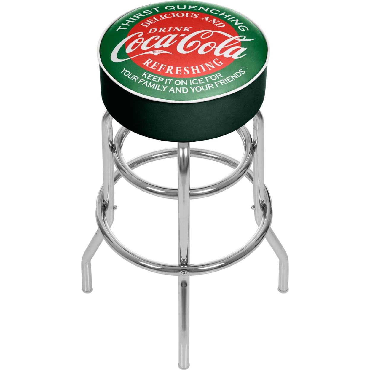 Red and Green Coca Cola Padded Swivel Bar Stool 30 Inches High coca cola vanilla нижний новгород