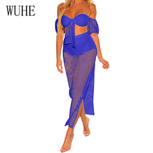 WUHE Sexy Off Shoulder Two-pieces Sets Maxi Dress Short Sleeve High Slit Beachwear Fashion Hollow Out Transparent Grid