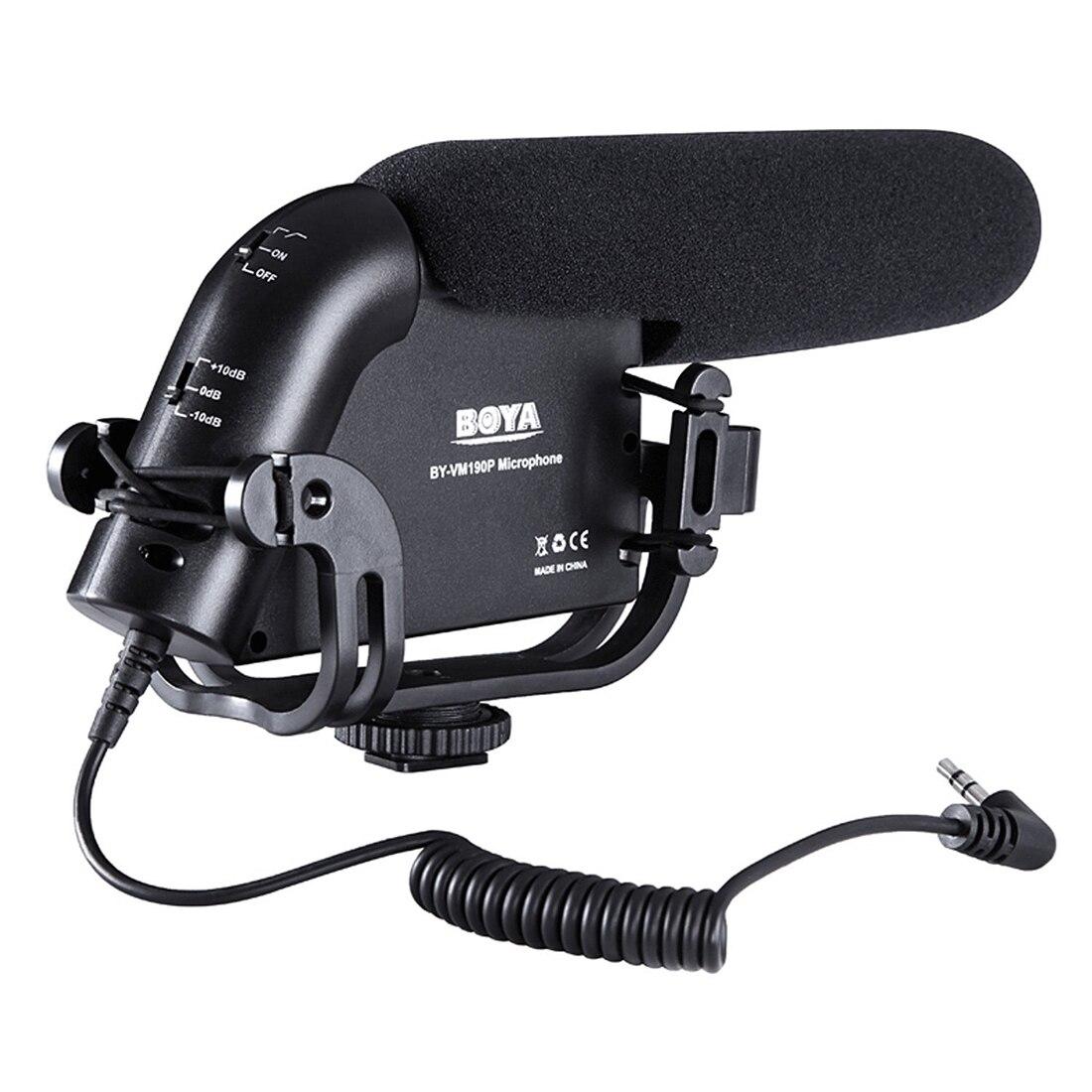 BOYA BY-VM190P Vidéo Microphone À Condensateur pour DSLR Vidéo Caméras avec Suspension Montage, 2-Étape Filtre Passe-Haut