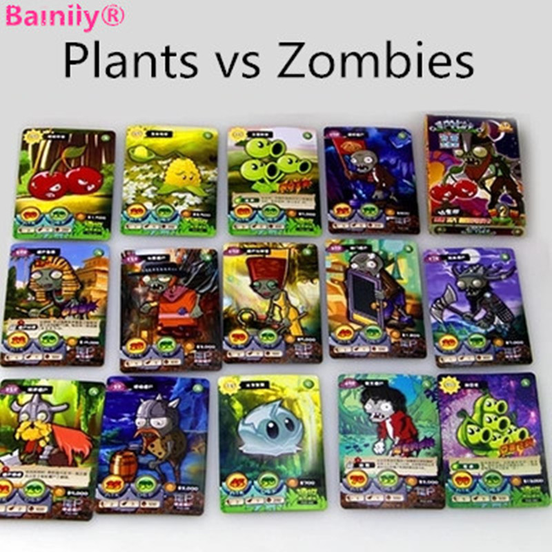 [Bainily]100pcs/set Plants VS Zombies Cards Plants Zombies War Action Figures Collect Game Card Pea Shooter Sunflower Kids Toys patrulla canina with shield brinquedos 6pcs set 6cm patrulha canina patrol puppy dog pvc action figures juguetes kids hot toys