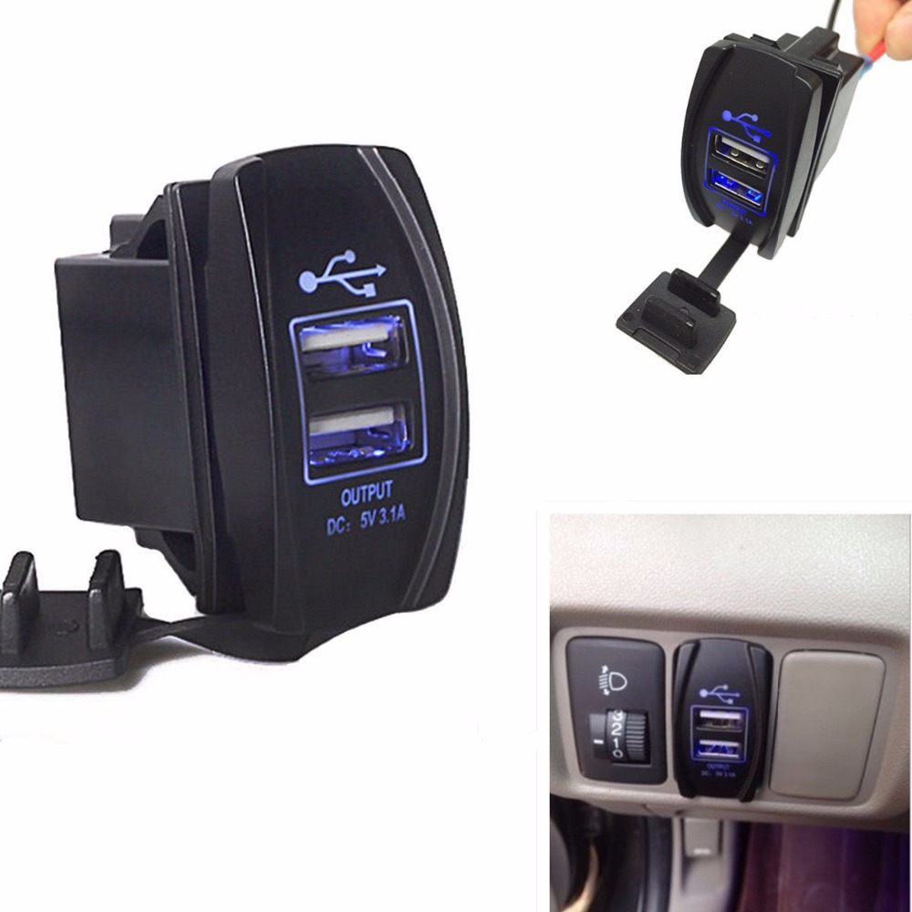 Dual 12v Usb Car Boat Socket Rocker Switch Panel With Voltage Carling 12 Volt Toggle Marine Switches Power Charger For Arb Blue Led Light 24v