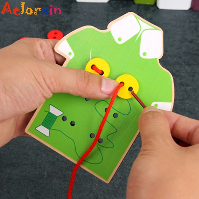 Early Educational Toys Learn To Wear Clothes Lacing Board Kids Wooden Toys Toddler Sew On Threading Buttons