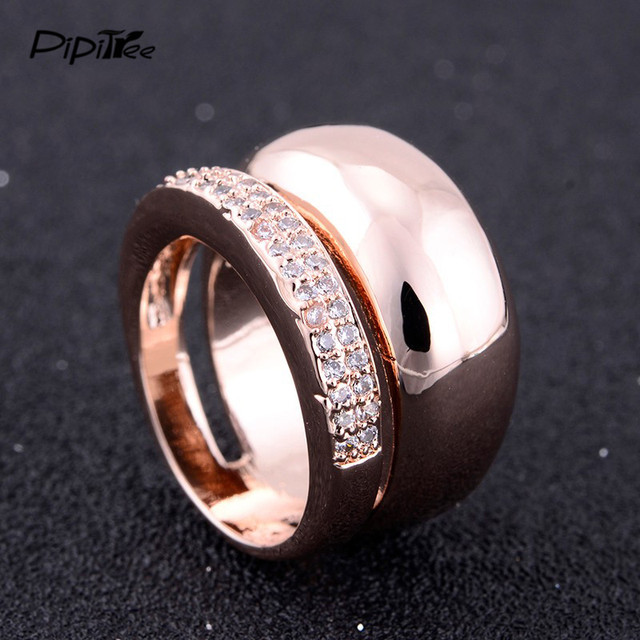 Unique Double Circle Band Large CZ Crystal Ring Set Punk White Gold Cocktail Wedding Couple Rings for Women Men Party Jewelry