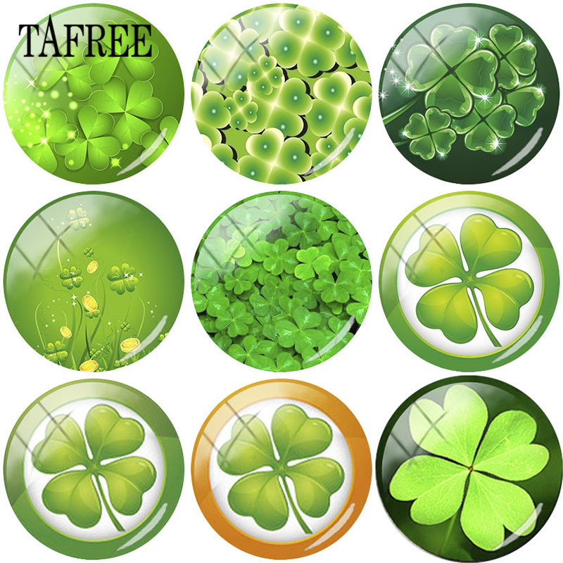 TAFREE Custom 25mm Glass Cabochon Dome With Four-leaf Clover Green Plant Pictures Flatback Camo Jewelry Findings DIY Gift