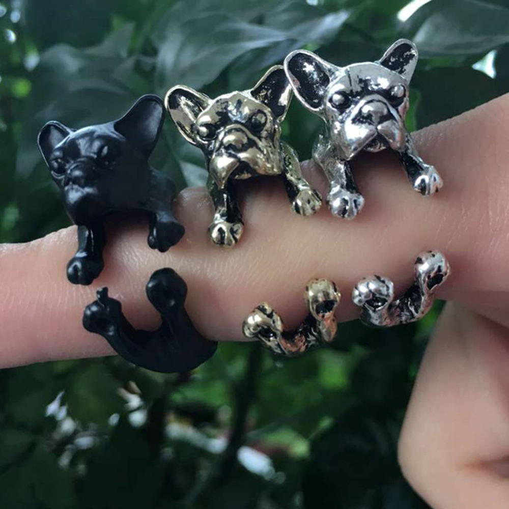 New Arrival 1 Piece Pet Dog Opening Ring Bulldog Ringment Ring 3 Colors Fine Jewelry Drop Shipping