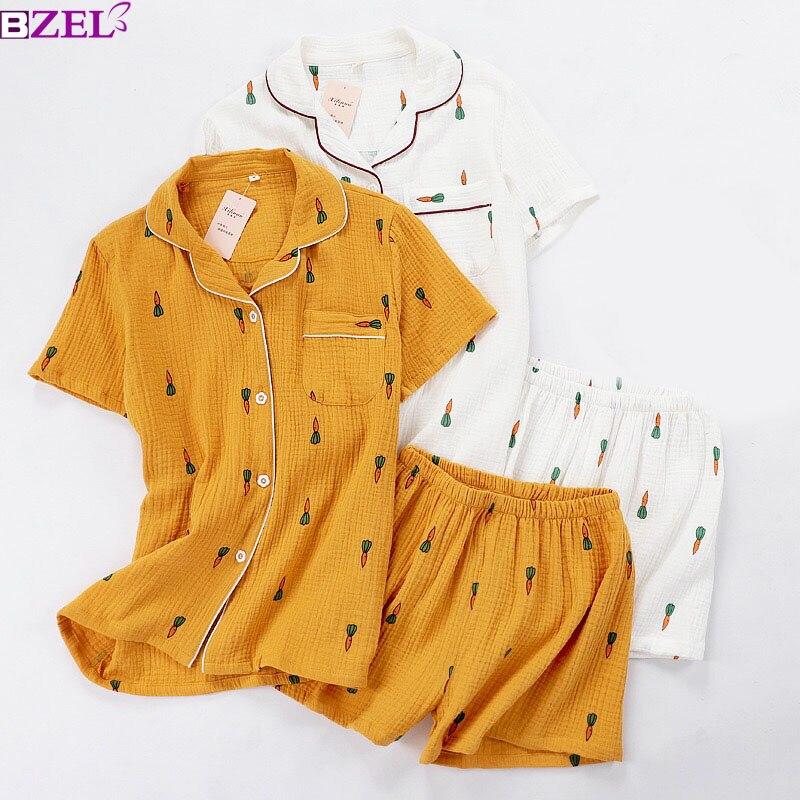 Women   Pajamas     Set   Summer Comfort Gauze Cotton Turn-down Collar Sleepwear   Set   Ladies Thin Loose Cartoon Carrot Printed Homewear