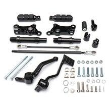 Controles dianteiros pegs alavancas linkages para xl883 xl1200 1991 2003 motocicleta pé repousa kit completo preto