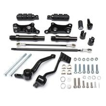 التحكم إلى الأمام أوتاد العتلات الروابط ل XL883 XL1200 1991 2003 دراجة نارية القدم مساند الأسود مجموعة كاملة