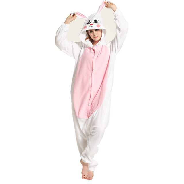 226b65878a78 Adults Polar Fleece White Rabbit Animal Kigurumi Women s Men s Onesies  Pajamas Cosplay Costume for Halloween and Carnival Party