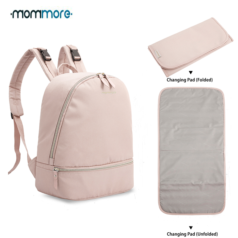 mommore Small Fashion Diaper Backpack Waterproof Travel Diaper Bag with Changing Pad Nursing Bag for Baby