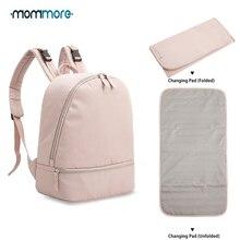 Mommore Маленький модный рюкзак для подгузников, водонепроницаемая дорожная сумка для подгузников с пеленальной подушечкой, сумка для ухода за ребенком