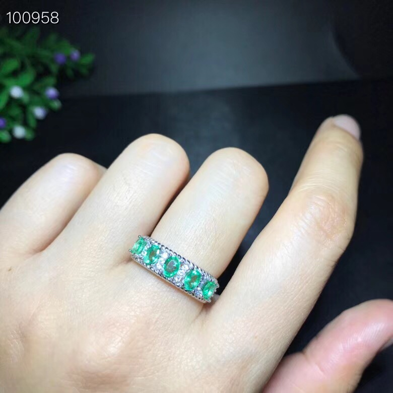 Uloveido Natural Emerald Ring, 925 Sterling Silver, Tested Pure Natural Gemstone, Crystal Birthstone Rings,Certificate 20% FJ328