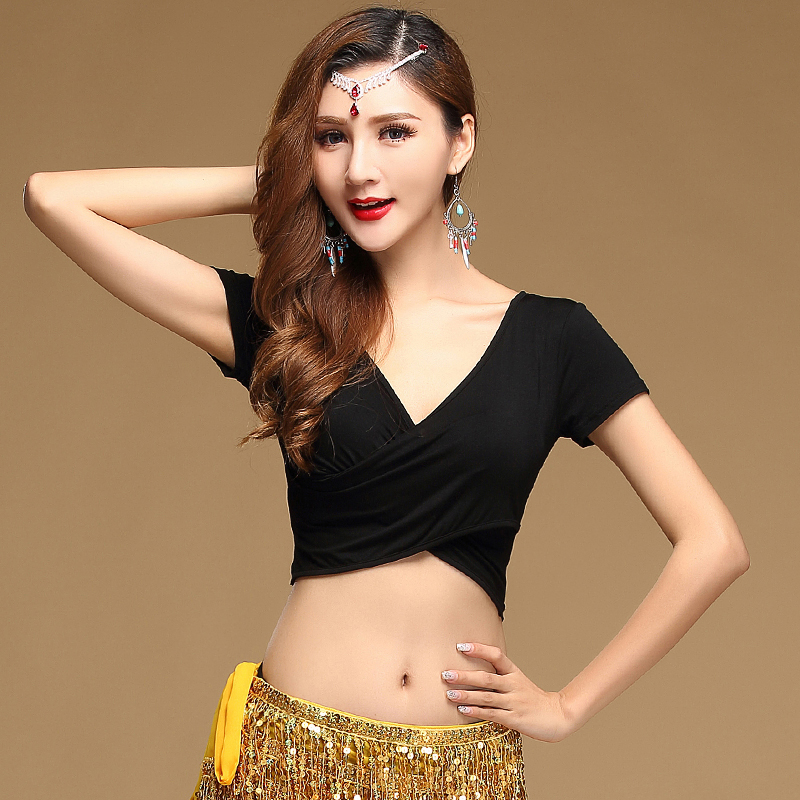 Wholesale T-shirt Modal Deed V Neck  Dance Top Girls Dance Clothes Top&tees Women Fashion Tops M,L,XL
