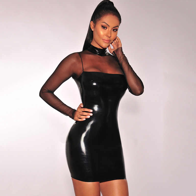 6b88daa398 Women Black Shiny Faux Leather Bandage Dress Sexy Mesh Patchwork Bodycon  Mini Dress Night Bar Pole