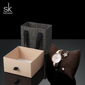 Image 3 - Shengke, conjunto de pulsera de oro rosa para mujer, novedad de 2019, reloj de cuarzo para mujer con estrella de cristal a la moda, conjunto de regalo de Navidad para mujer