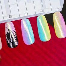 Shining Mermaid Effect Nail Glitter Polish Sparkly Glimmer Powder DIY Nail Art Decoration Tools Gel UV Nails Art Accessory TF