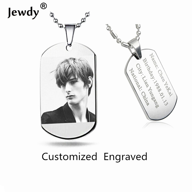 Jewdy DIY customized letter photo printed Dog Tags for Men Military Army Style Necklace For Women baby men personal gift