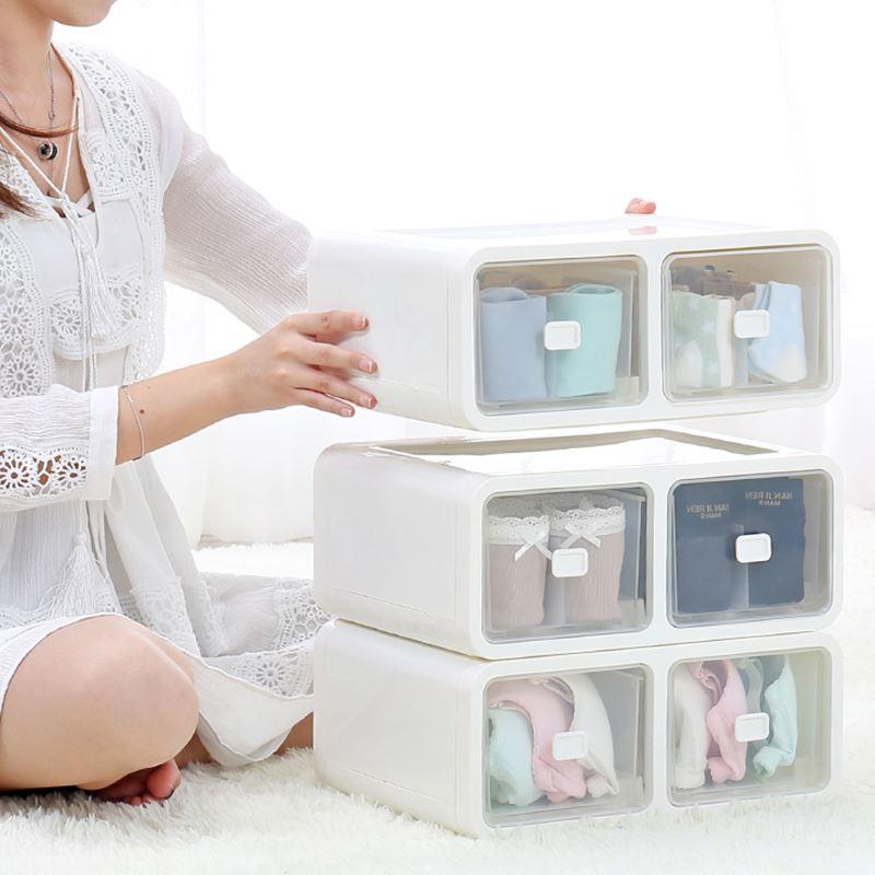 Large Capacity Underwear Thickening Plastic Storage Box Wardrobe Drawer Type Socks Underwear Bra Organization Stackable Clothing