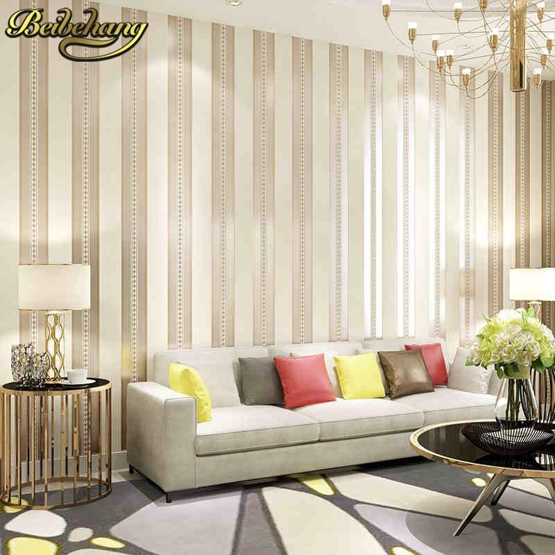 Beibehang Stripe Wallpaper Roll Simple Sofa Background Living Room  Wallpaper Bedroom Sofa Tv Backgroumd Flooring Wall Paper Roll