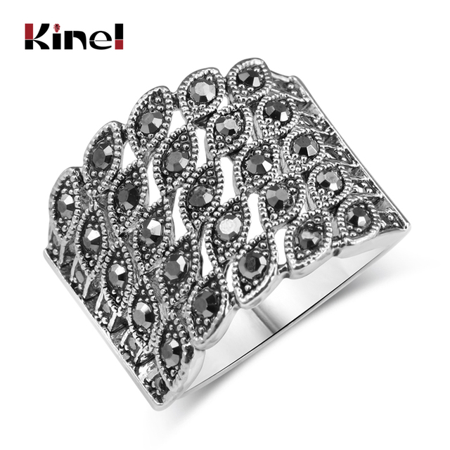 Kinel Hot Bright Black Crystal Ring For Women Fashion Antique Silver Color Charm