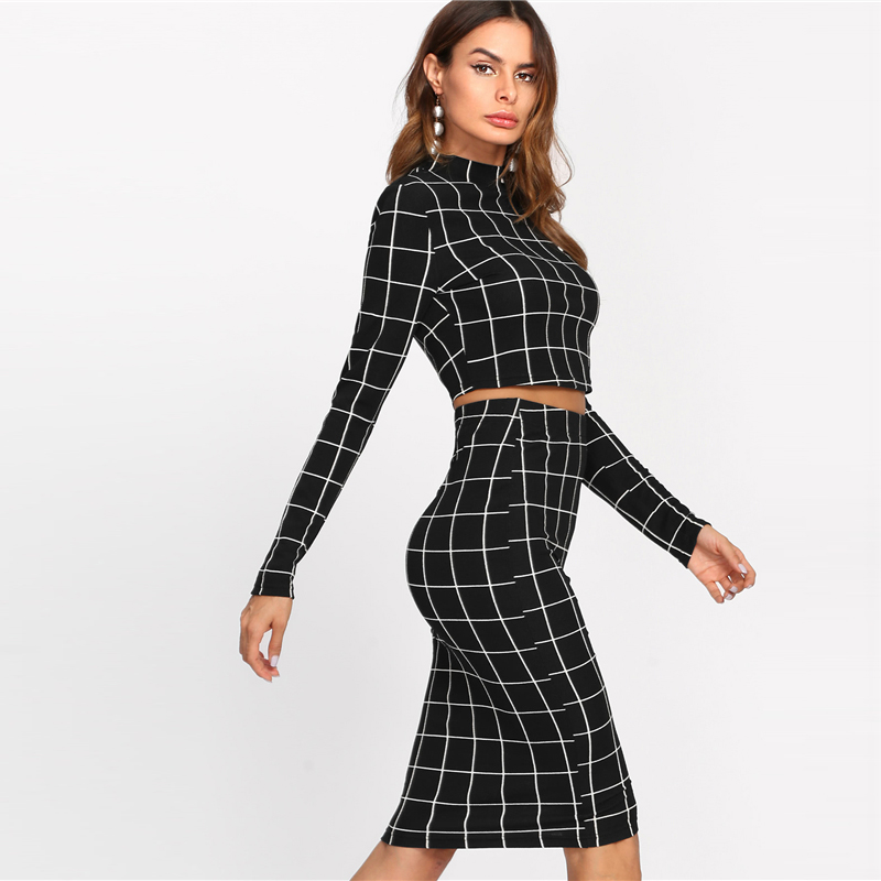 istylishmall - Stand Collar Long Sleeve 2 Piece Set Women Crop Grid Top & Pencil Skirt Co-Ord Ladies Elegant OL Style