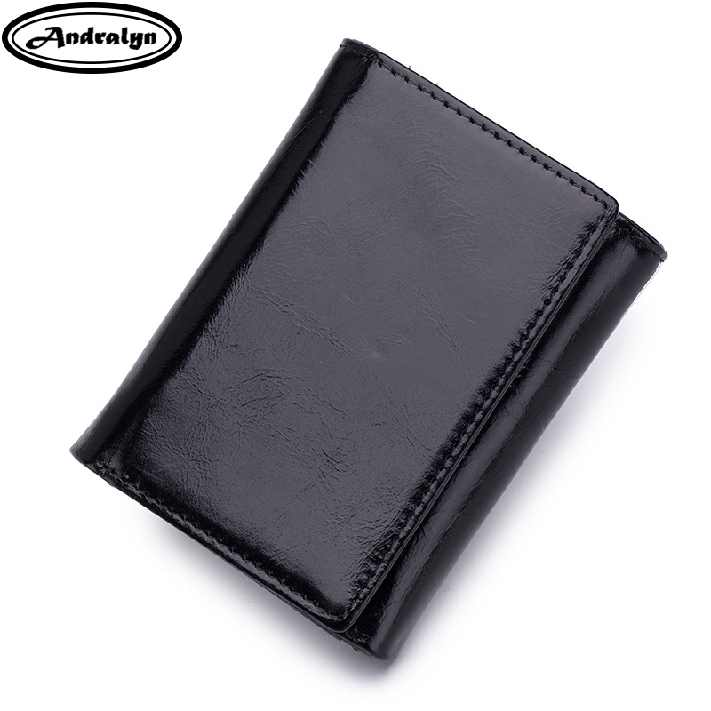 Andralyn RFID Wallet Antitheft Scanning Oil Wax Leather Wallet Women Genuine Leather Mini Wallet Case Men Short Trifold Purse ...