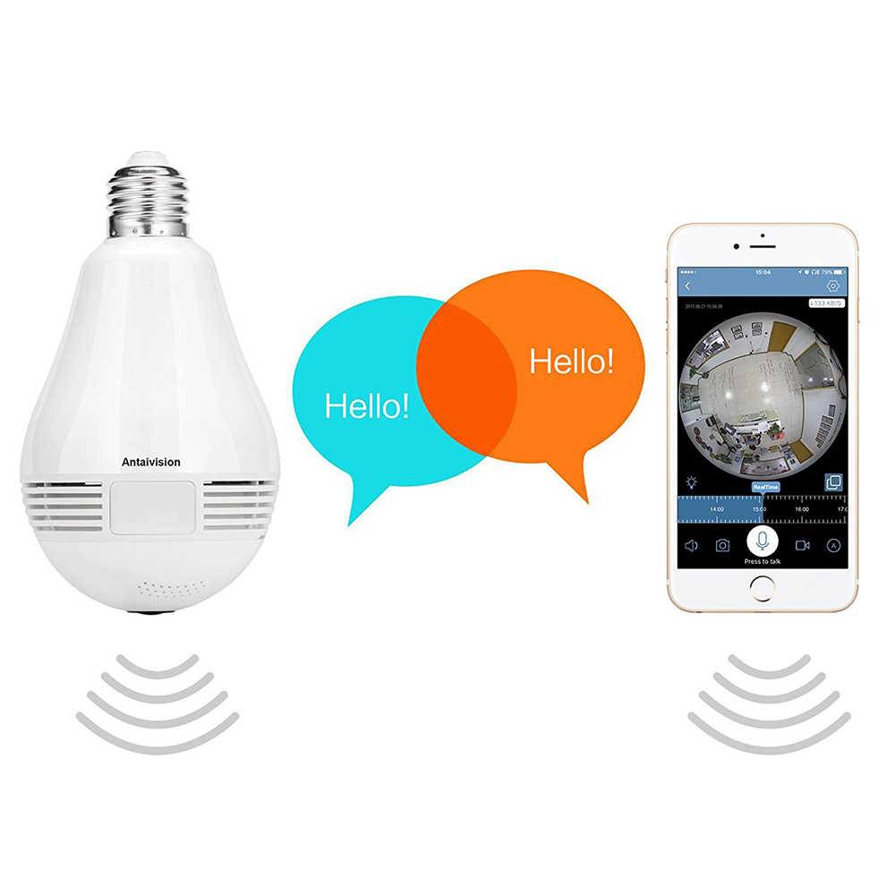 1pc Panoramic 3D Camera Mini Bulb Universal Adapter WiFi 360 Degree 960P HD Wireless Exquisite Practical Smart for Home