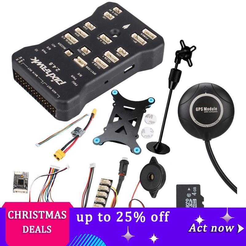 Pixhawk PX4 PIX 2.4.8 32 poco controlador de vuelo w/4G SD interruptor de seguridad timbre M8N + GPS + PPM + I2C + amortiguador + xt60 módulo de potencia