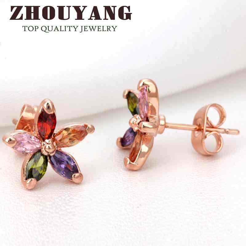 ZHOUYANG ZYE007 ססגוני Wintersweet רוז זהב צבע עגילים מקורית האוסטרי קריסטל