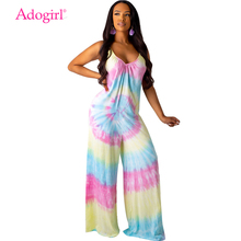 Adogirl Tie Dye Print Casual Loose Jumpsuit Women Sexy V Neck Spaghetti Straps Backless Summer Romper Wide Leg Pants Overalls green backless tiered flared details floral print self tie design wide leg jumpsuit