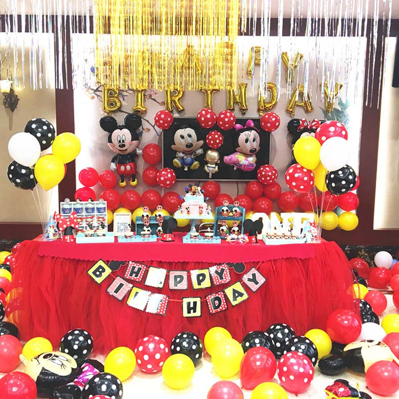 114cm all manner of Mickey Minnie Balloons Birthday Wedding Party Decoration Inflatable Air Balloons Kids Classic Toys globos in Ballons Accessories from Home Garden