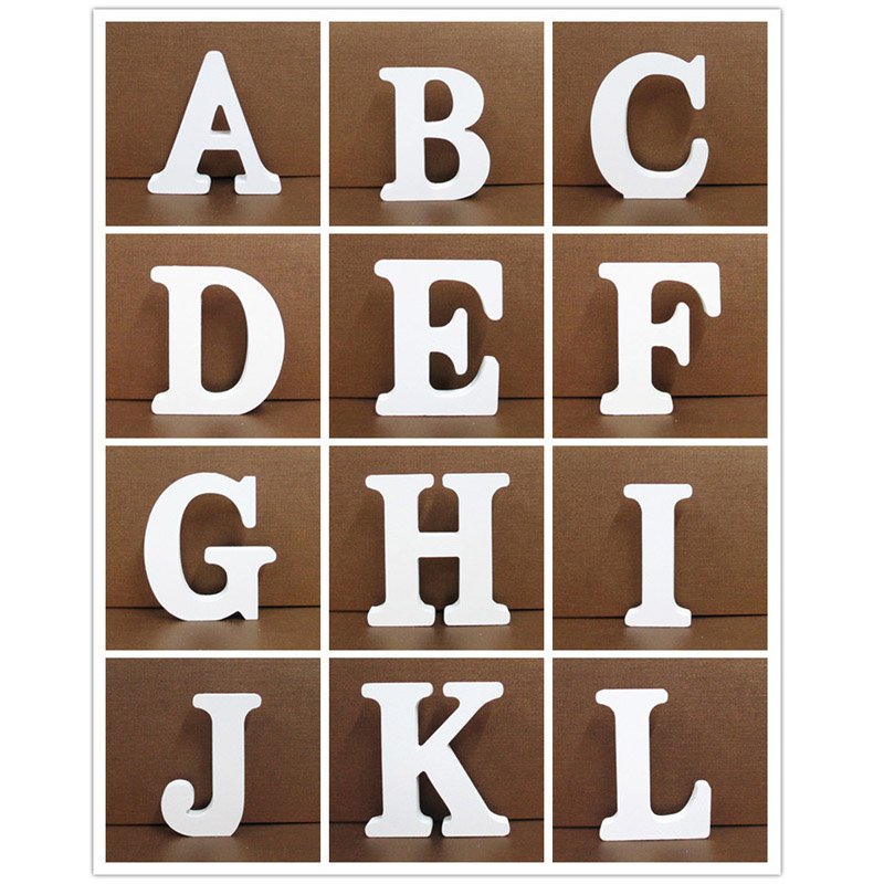1pcs 15cm White Wooden Letter English Alphabet DIY Personalised Name Design Art Craft Free Standing Heart Wedding Home Decor