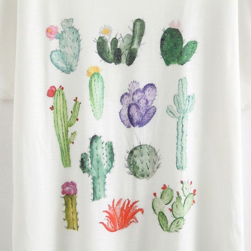 HTB1PaLsNpXXXXbFapXXq6xXFXXXI - New 2017 Summer Women Desert Cactus Print T Shirts Cute