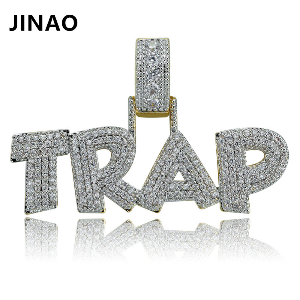 JINAO Fashion AAA TRAP Pendant Necklace Letter Bling Cubic Zircon Iced Out Chain Micro Pave Men Women Hip Hop Jewelry Gift Solid