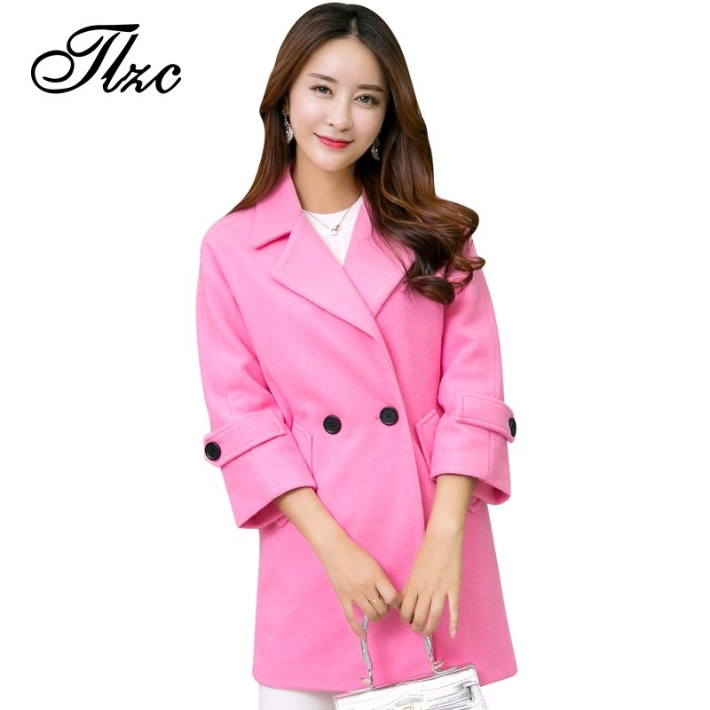 TLZC 2017 Women Winter Autumn Jackets Long Design Plus Size L-5XL Candy Color Slim Office Lady Wool & Blends Coat юбка tlzc a06 2014