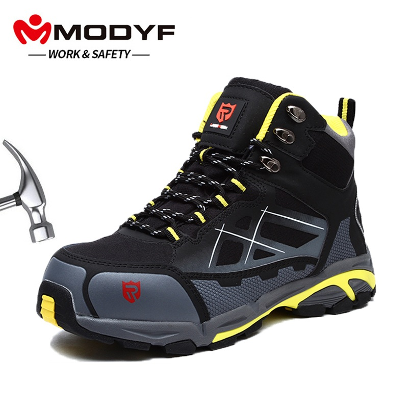 MODYF Mens Steel Toe Work Safety Shoes Lightweight Breathable Anti smashing Anti puncture Anti static Protective