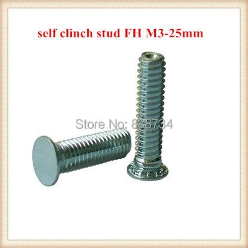 1000pcs steel with white zinc coated PEM FH m3*25mm self clinching screw pressure riveting screw stud