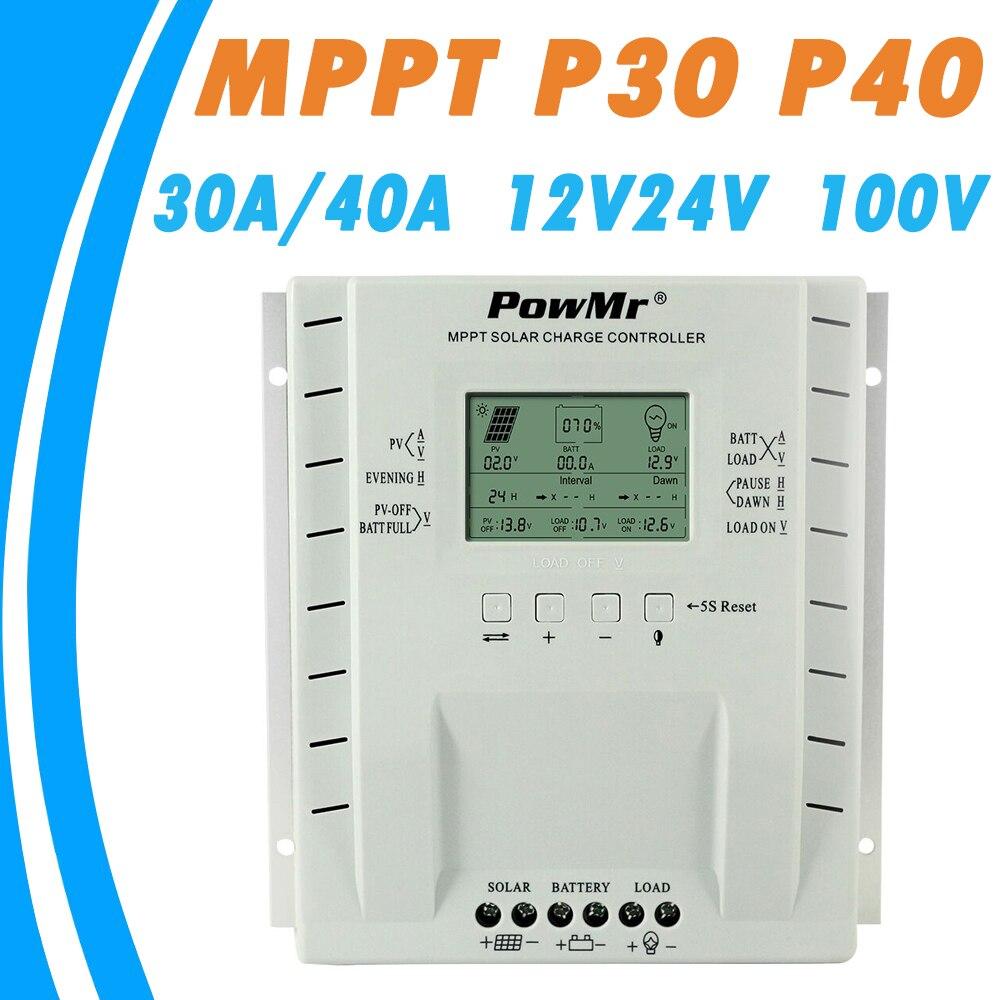 все цены на PowMr MPPT 30A 40A 12V 24V Solar Charge Controller for Max 100V Solar Panel Input with Dual USB 5V Output Solar Regulator Newest онлайн